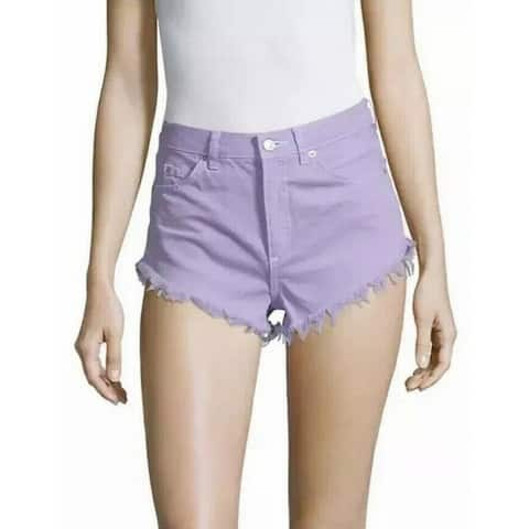 Topshop Womens Shorts Lilac Denim Frayed Raw High Rise