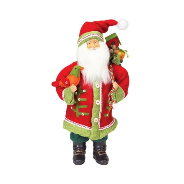 "20"" Festive Red and Green Santa Claus with Bird Table Top Christmas Figure - multi"