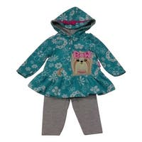 American Character Baby Girls Turquoise Cat Detail Top Grey Pants Outfit