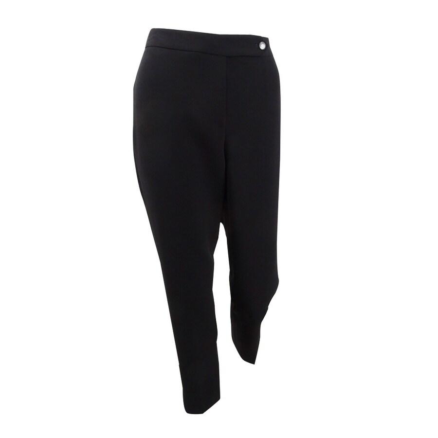 Tahari ASL Womens Petite Extended-Tab Pants - Black
