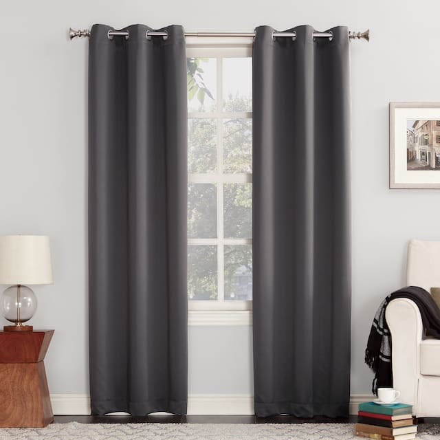 Sun Zero Hayden Energy Saving Blackout Grommet Curtain Panel, Single Panel - 54 x 108 - Charcoal