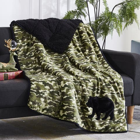 Kids Applique Velvet Sherpa Weighted Throw Blanket 6 lb
