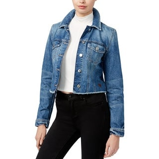 Guess Womens Re-Worked Trucker Denim Jacket Cropped Frayed Hem