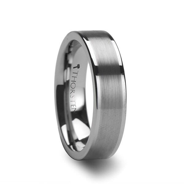 THORSTEN - MILANA Women Tungsten Ring Flat Brushed Center Finish - 6mm