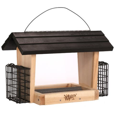 Nature's Way⢠CWF19 Cedar Hopper Feeder with 2 Suet Cages, 6 Qt