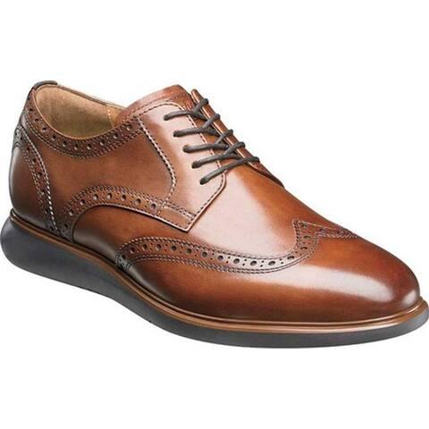 Florsheim Men's Fuel Wingtip Oxford Cognac Leather/Brown Sole