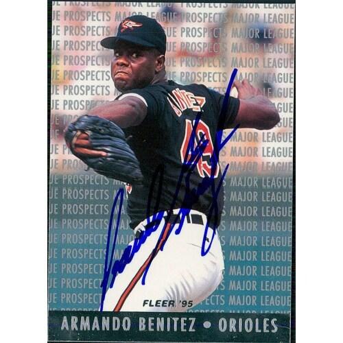 Signed Benitez Armando Baltimore Orioles 1994 Fleer Baseball Card Autographed