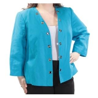 KASPER $104 Womens New 1032 Blue Grommet Trim Blazer Jacket 24W Plus B+B