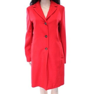 Max Mara NEW Solid Red Women's Size 10 Basic Three Button Coat Wool
