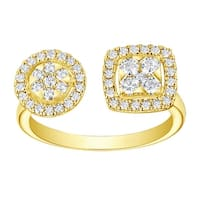 Prism Jewel 0.55Ct G-H/SI1 Natural Diamond Round with Cushion Shape Open Fancy Ring - White G-H