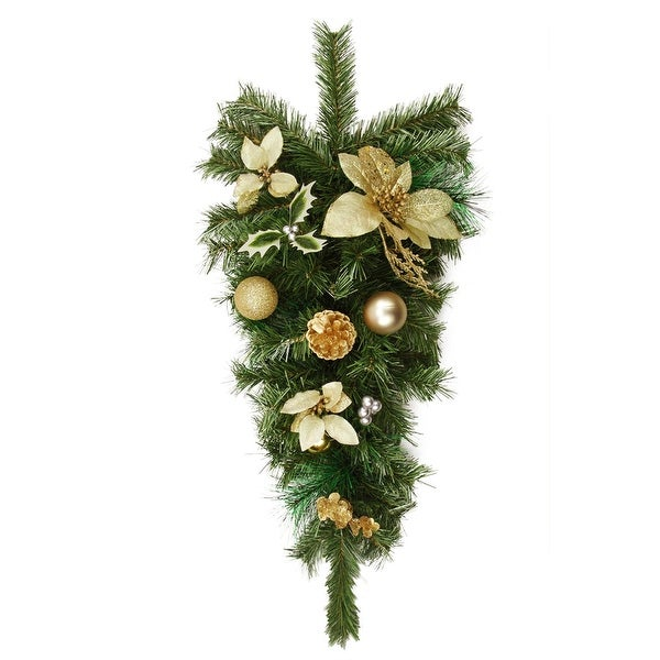 """32"""" Pre-Decorated Gold Poinsettia, Pine Cone and Ball Artificial Christmas Teardrop Swag - Unlit"""