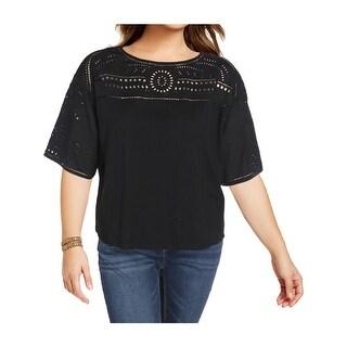 Lauren Ralph Lauren Womens Lodyra Pullover Top 3/4 Sleeves Embroidered