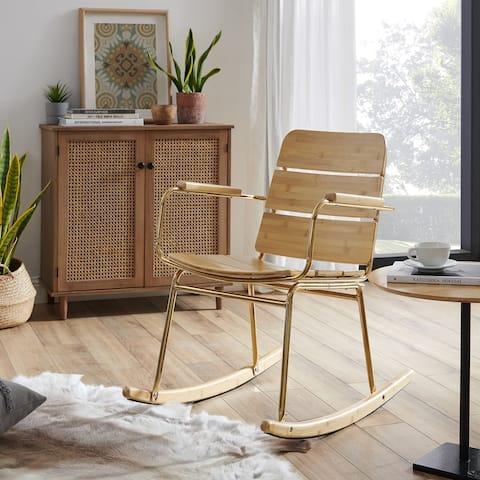 Art Leon Modern Metal Frame Rocking Chair with Seat Cushion