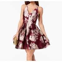 Xscape Purple Womens Size 6 V-Neck Floral Jacquard Sheath Dress