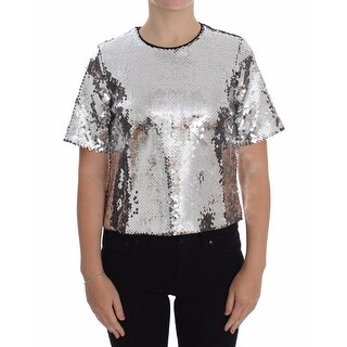 Dolce & Gabbana Blouse T-shirt Top Silver Sequined Crewneck