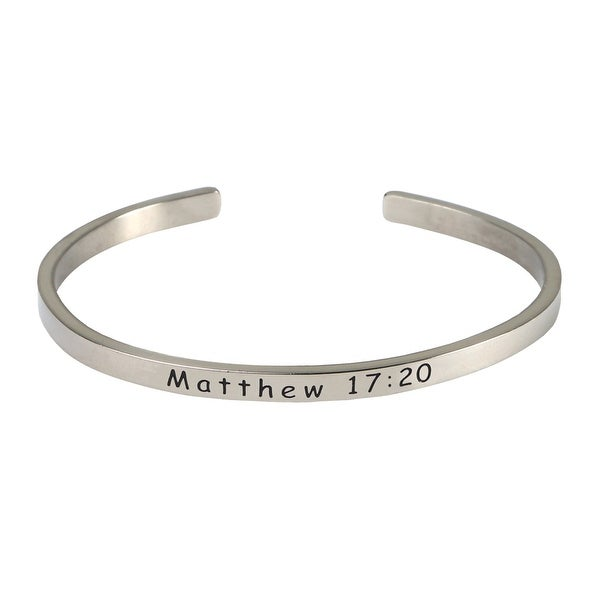 Women's Bible Verse Sterling Silver Engraved Cuff Bracelet - Mathew 17:20