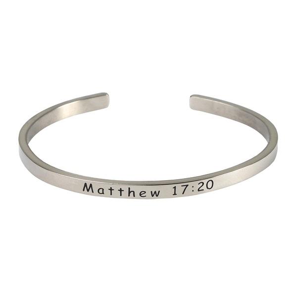Women's Stainless Steel Bible Verse Engraved Cuff Bracelet - Matthew 1 - Silver