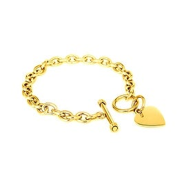 Gold Plated Stainless Steel Heart Tag Bracelet 7.25 Inches