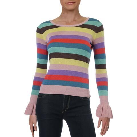 Guess Womens Sweater Stripe Metallic Blend - Small Rainbow Combo