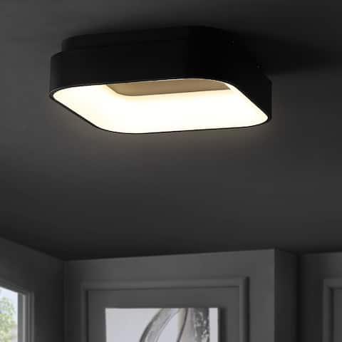 "Rafael 17.7"" Integrated LED Metal Flush Mount, Black by JONATHAN Y"