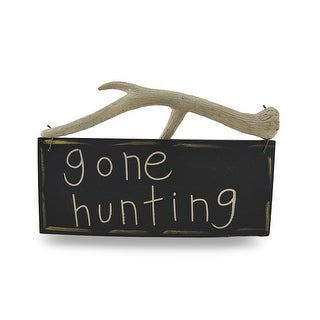 Rustic Reversible Rack-A-Holic/Gone Hunting Antler Wall Hanging - Black