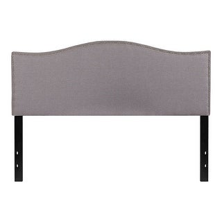 Offex Upholstered Queen Size Headboard with Accent Nail Trim in Light Gray Fabric