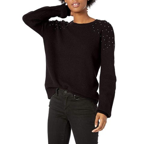BCX Black Size XL Junior's Embellished Crew Neck Pullover Sweater
