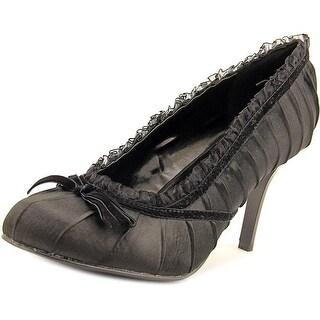 Ellie 406-Doll Women Round Toe Canvas Black Heels