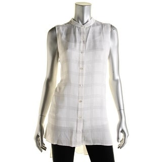 Eileen Fisher Womens Petites Silk Plaid Button-Down Top