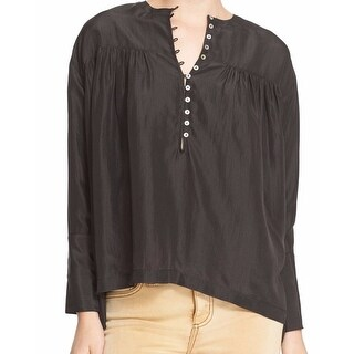 Free People NEW Black Henley Women's Medium M Buttoned Blouse Silk