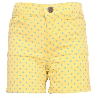 Ko Ko Ailis Little Girls Yellow Blue Polka Dotted High Waisted Shorts 4