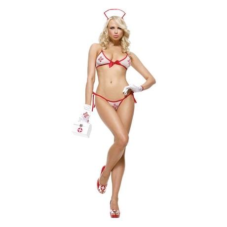 Leg Avenue Bedside Betty Nurse Costume Lingerie - Multi - One Size