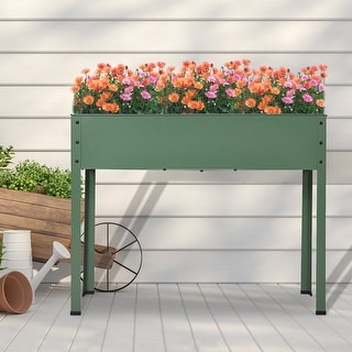 Link to Mois Galvanized Metal Raised Garden Bed Planter Box by Havenside Home Similar Items in Planters, Hangers & Stands