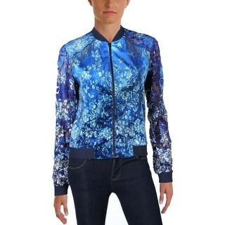 T Tahari Womens Fatima Bomber Jacket Embellished Floral Print