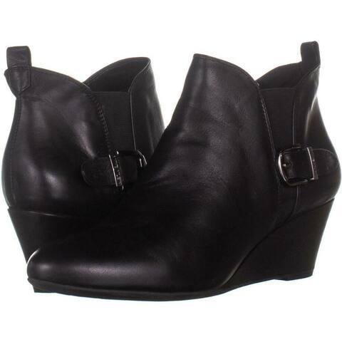 Anne Klein Womens Abilene Leather Almond Toe Ankle Fashion Boots