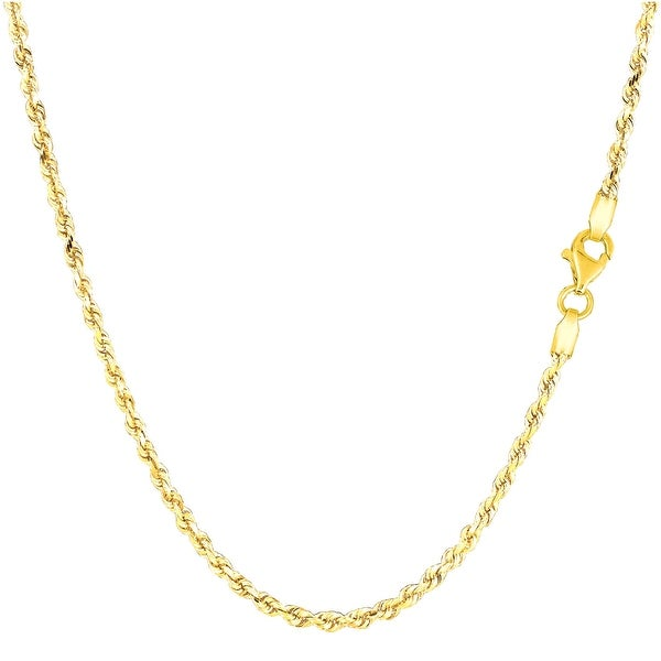 Mcs Jewelry Inc 10 KARAT YELLOW GOLD SOLID ROPE CHAIN NECKLACE (2.25MM)
