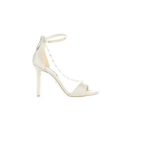 Badgley Mischka Womens Erika Gold Ankle Strap Heels Size 6