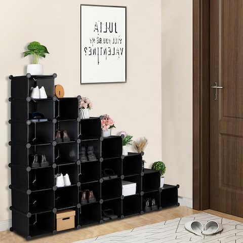 7-Tier 28-Pair Plastic Shoe Rack Units, Cabinet Storage Organizer, Black