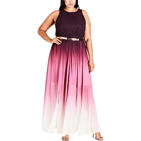 City Chic Womens Maxi Dress Ombre Pleated
