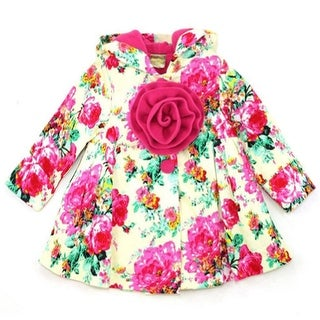 Maria Elena Little Girls Ivory Fuchsia Floral Print Rosette Hooded Coat