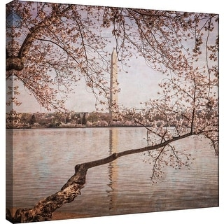 """PTM Images 9-101245  PTM Canvas Collection 12"""" x 12"""" - """"Cherry Blossoms 5"""" Giclee Washington Monument Art Print on Canvas"""