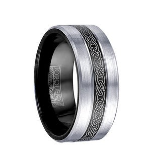 MCCLOUD Torque Black Cobalt Wedding Band Laser Celtic Center Design Brushed Finish with Black Inside by Crown Ring - 9 mm