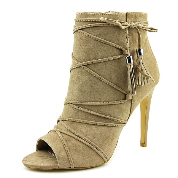 Madden Girl Koorset Women Peep-Toe Canvas Tan Ankle Boot