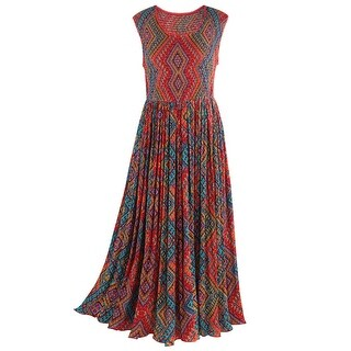 Catalog Classics Women's Jacaranda Maxi Dress - Smocked Top Sleeveless Sundress