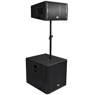 "Powered Line Array System - 18"" Subwoofer, 12"" Line Array Speaker and Pole"
