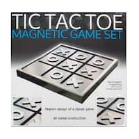Daily Basic Futuristic Metallic Finish Tic Tac Toe Magnetic Game and Decoration Set