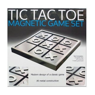 Daily Basic Futuristic Metallic Finish Tic Tac Toe Magnetic Game & Decoration Set