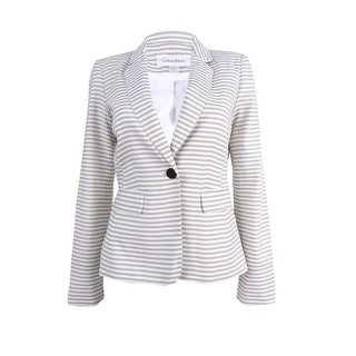 Calvin Klein Women's Petite Single-Button Striped Blazer - khaki/white