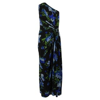Ralph Lauren Women's One Shoulder Floral Print Gown - Black/multi