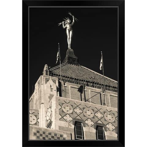 """Miss Electra statue on the top Alabama Power Building, Birmingham, Alabama"" Black Framed Print"